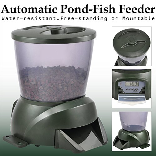 Outdoortips automatic fish food pellet feeder holiday for Automatic pond fish feeder